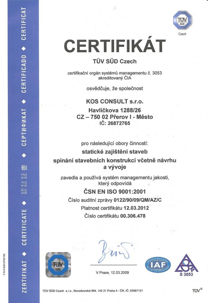 Certifikát Statické zajištění staveb