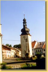 Hodinová věž v obci Potštát